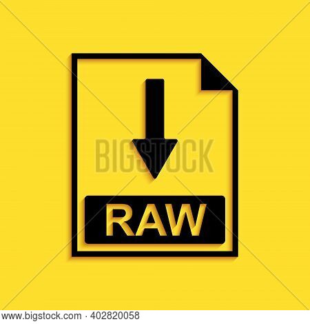 Black Raw File Document Icon. Download Raw Button Icon Isolated On Yellow Background. Long Shadow St