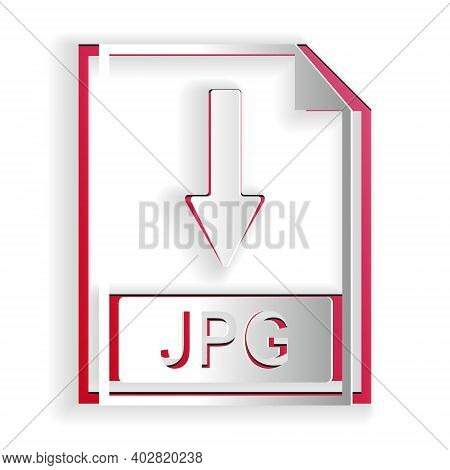 Paper Cut Jpg File Document Icon. Download Jpg Button Icon Isolated On White Background. Paper Art S