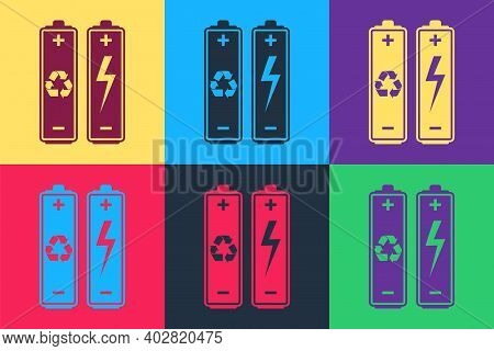 Pop Art Battery With Recycle Symbol - Renewable Energy Concept Icon Isolated On Color Background. Ve