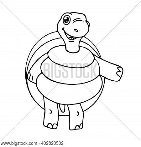 Coloring Book For Children, Tortoise. Vector Illustration
