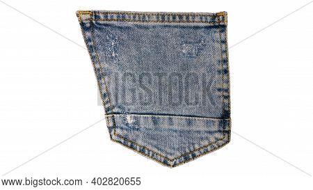 Denim Back Pocket Isolated On White Background. Denim Logo, Denim Icon.