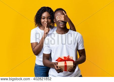 Surprise For My Lover On St. Valentines Day. Pretty Black Lady Covering Her Man Eyes, Showing Silenc