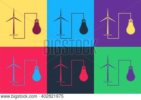 Pop Art Wind Mill Turbine Generating Power Energy And Bulb Icon Isolated On Color Background. Natura