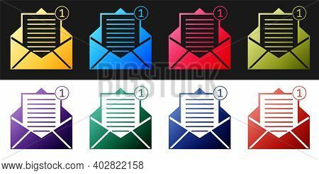 Set Received Message Concept. Envelope Icon Isolated On Black And White Background. New, Email Incom