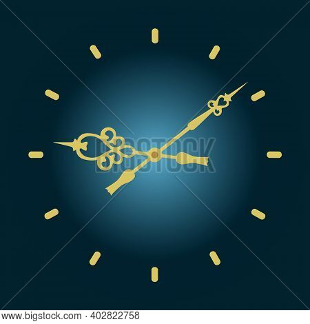 Wall Clock With Arrows. Vector Clock For Exact Time. Classic Round Clock.