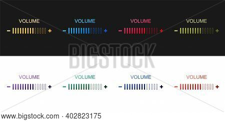 Set Volume Adjustment Icon Isolated On Black And White Background. Vector
