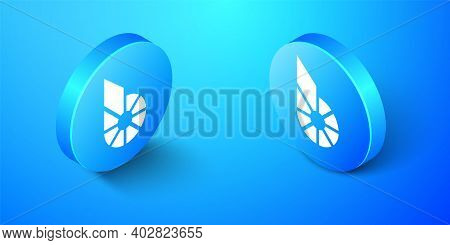 Isometric Cryptocurrency Coin Bitshares Bts Icon Isolated On Blue Background. Physical Bit Coin. Dig