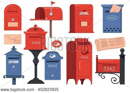 Traditional English Letterboxes Set. Red And Blue Vintage Mailboxes, Old Postboxes With Letters Isol