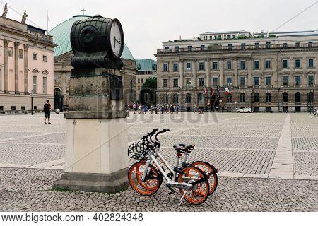 Berlin, Germany - July 29, 2019: Rental Bicycles Parked In Bebelplatz Or Opernplatz In The Central M
