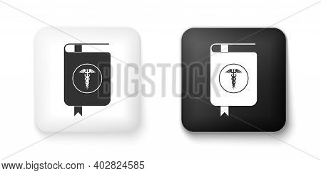 Black And White Medical Book And Caduceus Medical Icon Isolated On White Background. Medical Referen