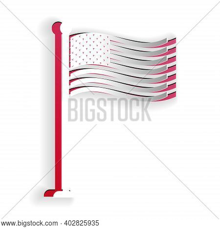 Paper Cut National Flag Of Usa On Flagpole Icon Isolated On White Background. American Flag Sign. Pa