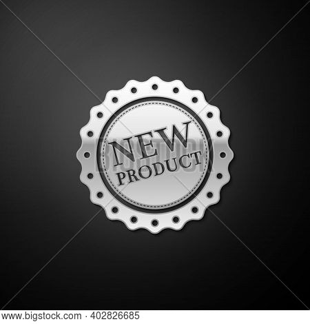 Silver New Product Label, Badge, Seal, Sticker, Tag, Stamp Icon Isolated On Black Background. Long S