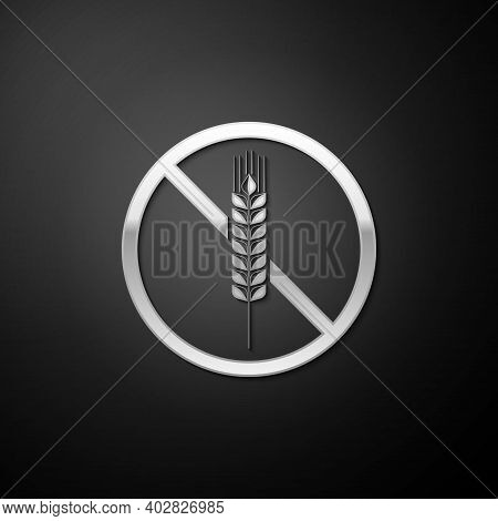 Silver Gluten Free Grain Icon Isolated On Black Background. No Wheat Sign. Food Intolerance Symbols.