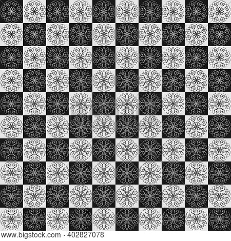 Floral Seamless Pattern, Checkerboard, Geometric, Checkered Template.