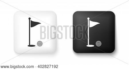 Black And White Golf Ball And Hole With Flag Icon Isolated On White Background. Golf Course. Ball An