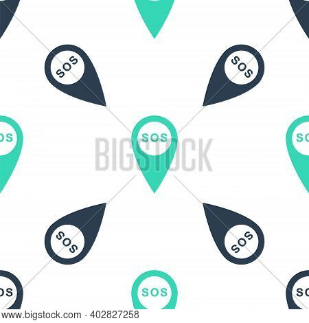 Green Marker Location With Sos Icon Isolated Seamless Pattern On White Background. Sos Call Location