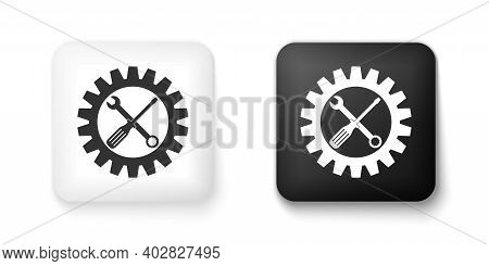Black And White Maintenance Symbol - Screwdriver, Spanner And Cogwheel Icon Isolated On White Backgr