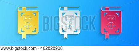 Paper Cut Law Book Statute Book With Scales Of Justice Icon Isolated On Blue Background. Paper Art S