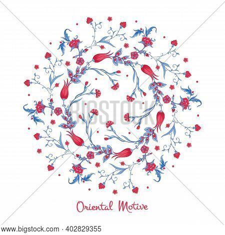 Luxurious Ornament In Oriental Style. Vector Arabesque Element For Design Template. Traditional Flor