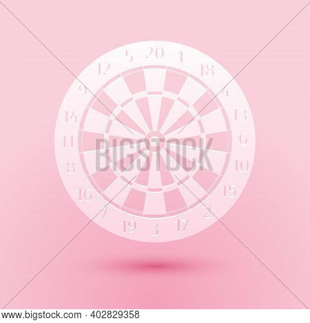 Paper Cut Classic Darts Board With Twenty Black And White Sectors Icon Isolated On Pink Background.