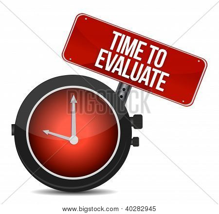 Time for Evaluate concept illustration design over a white background poster