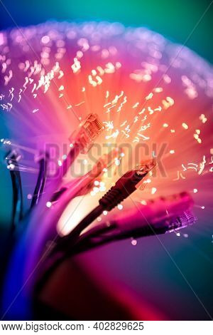 Fibre optics and network plug abstract background