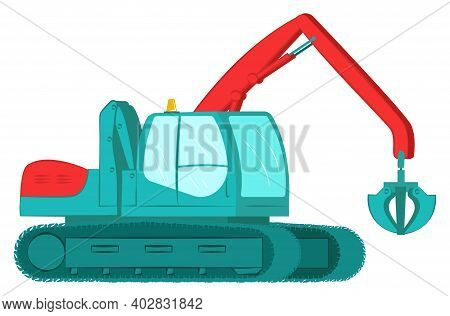 Icon Excavator With Bucket, Professional Construction Vehicle Equipment, Land Work Flat Vector Illus
