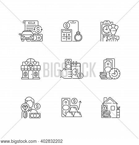 Pawnshop Linear Icons Set. Vehicle Title Loan. Price Calculation. Antiques. Short-term Borrowing. Cu