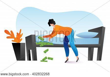 Woman Keep Money Under Bed Mattress, Female Character Poor Financial Literacy, Cash Saving Cartoon V