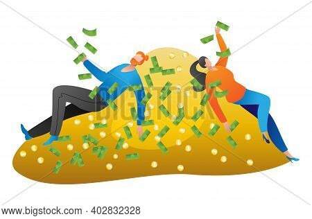 Rich Lovely Couple Lying On Pile Gold Coin, People Character Together Relaxing Squander Money Cartoo