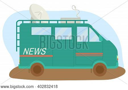 Vehicle Minibus News Channel Special Transport, Wagon With Satellite Antenna And Journalism Equipmen