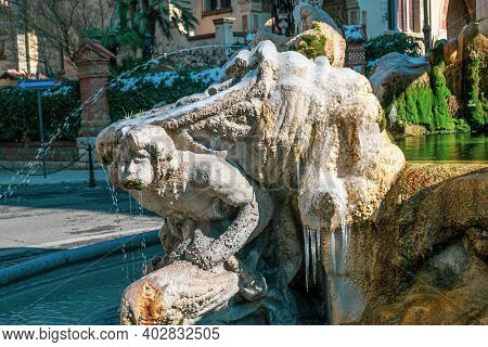 Rome, Italy - February 26, 2018: Fountain Of The Frogs. Abnormal Snow Falls In Rome. Snow On Rome Fo
