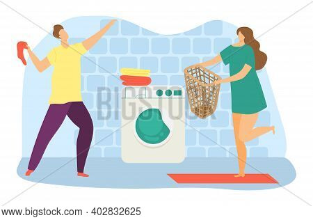 Lovely Modern Family Cheerful Weekend Cleaning Day, Laundry Room With Washing Machine Flat Vector Il