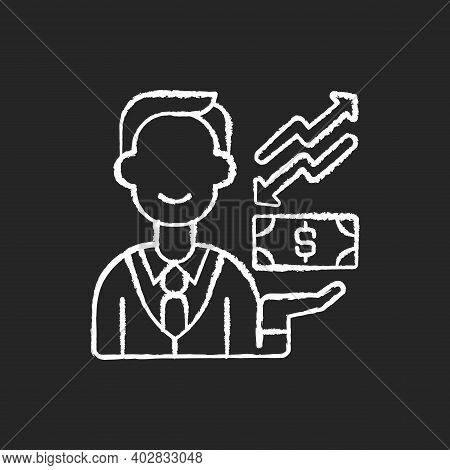 Equity Chalk White Icon On Black Background. Ownership Of Assets That May Have Debts Or Liabilities