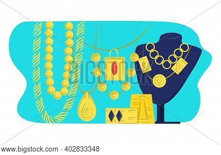 Big Set Premium Luxury Gold Jewelry, Woman Stuff Decoration Glamour Bijouterie Flat Vector Illustrat