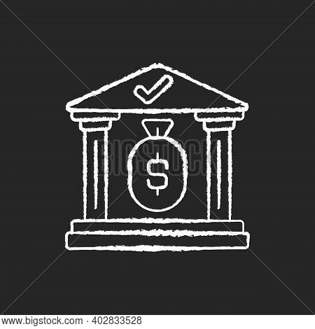 Treasury Chalk White Icon On Black Background. Government Department Related To Finance And Taxation