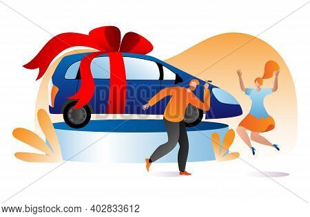 Lovely Family Celebrate Win Lottery Vehicle, Male Character Hold Car Key, Female Happy Jumping Flat