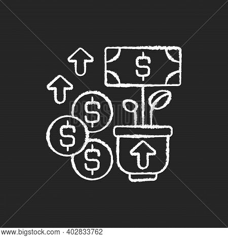 Revenue Chalk White Icon On Black Background. Income And Increase In Net Assets That Entity Has From