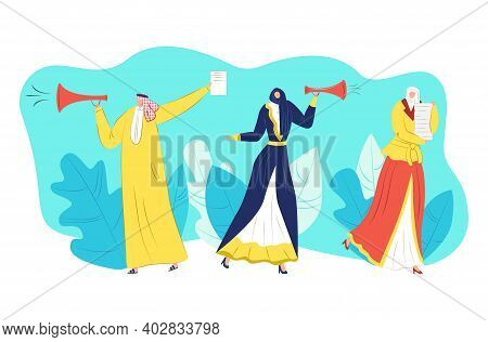 Arabic Muslim Character People Propaganda, Woman Man In Burka Purdah Hold Document Paper And Megapho