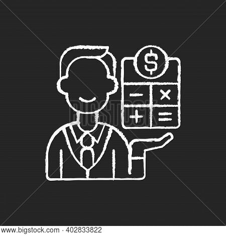 Bookkeeper Chalk White Icon On Black Background. Responsible Person For Recording And Maintaining Al