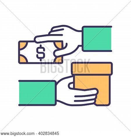 Stock Sale Rgb Color Icon. Income Generating Assets. Transaction Form. Exchange Money For Goods And