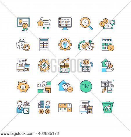 Asset Management Rgb Color Icons Set. Intellectual Property Law. Buying Business Assets. Finance Man