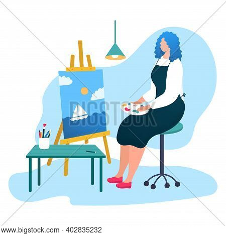 Woman Professional Artist Paintress Drawing Picture, Female Sitting Easel Cartoon Vector Illustratio