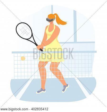 Virtual Reality Interactive Entertainment Sport Simulator, Modern Technology Woman Tennis Player Car