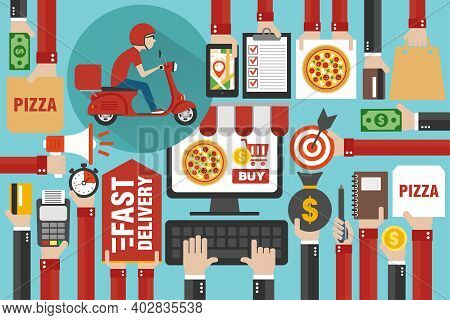 Fast Delivery Package By Scooter. Online Delivery Service. Internet E-commerce. Online Shopping Pizz