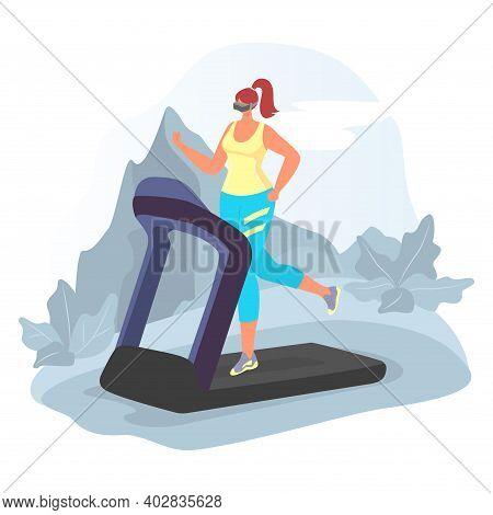 Virtual Reality Sport Simulator, Modern Technology Woman Running On Treadmill Cartoon Vector Illustr
