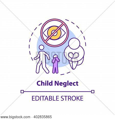 Child Neglect Concept Icon. Kid Mistreatment. Poverty Problem. Parental Negligence. Child Safety Ide