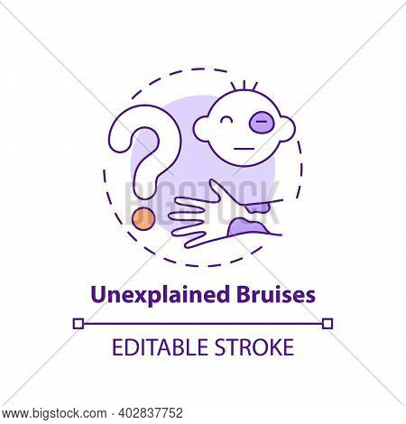 Unexplained Bruises Concept Icon. Sign Of Physical Violence At Home. Abuse And Assault Symptom. Chil
