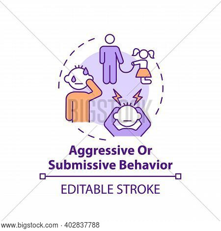 Aggressive Or Submissive Behavior Concept Icon. Sign Of Domestic Abuse, Parental Neglect. Child Safe