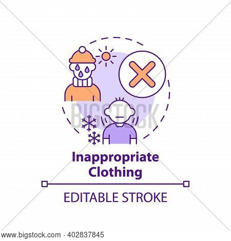 Inappropriate Clothing Concept Icon. Sign Of Parental Neglect. Damage To Kids Health, Wellbeing. Chi